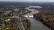 Cohoes Falls And Mills - Aerial View - New York,  Saratoga County,  United States video