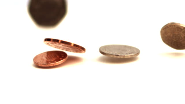 Coins dropping on white surface video