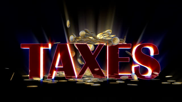 EUR coins falling and being hit by shiny word Taxes video
