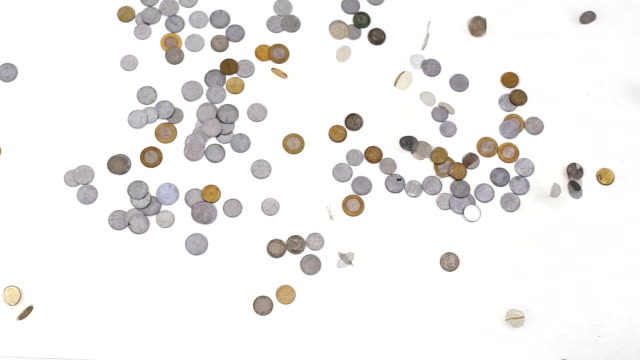 Coins falling down video