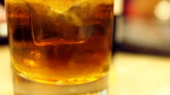 Cold alchohol drink close-up video