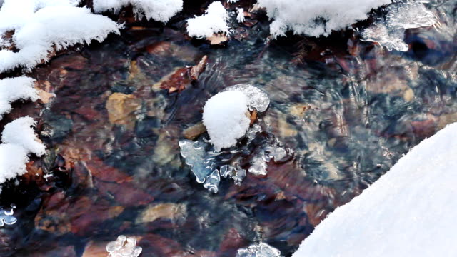 Cold and ice stream, beautiful winter. video
