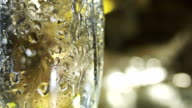 Cold glass for beer. Prior To pouring beer into glass. video