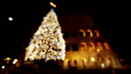 Coliseum and christmas tree in Rome video