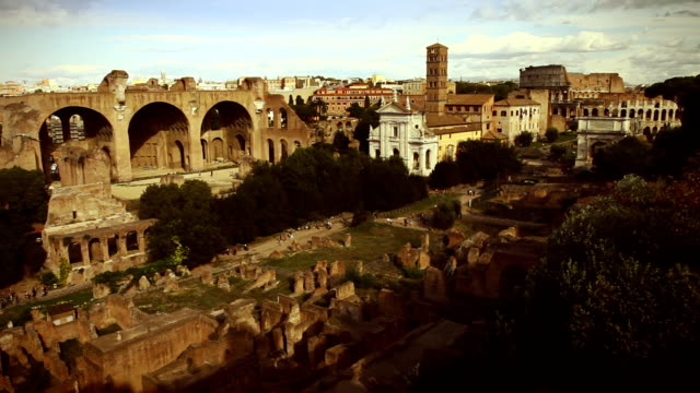 Coliseum and Forum from the Palatine hill in Rome video