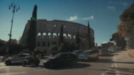 Coliseum of Rome and traffic video