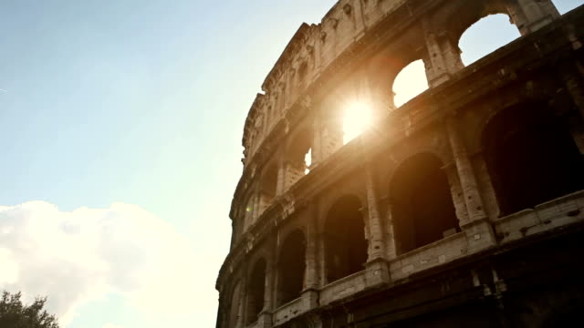 Coliseum of Rome, or Colosseo, with sun flares video