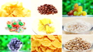 Collage of many food ingredients rotating video