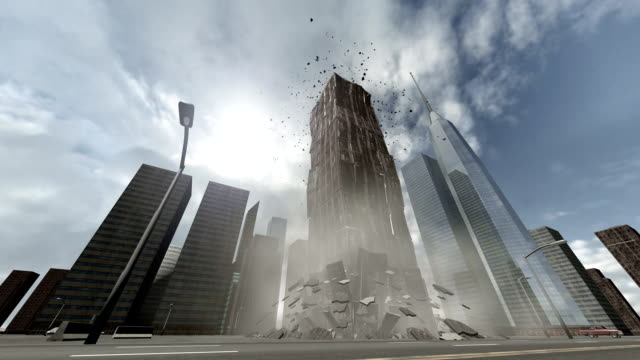 Collapsing building video