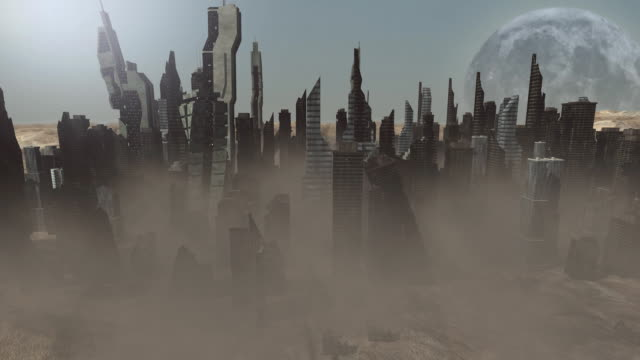 Collapsing buildings on an animated planet video