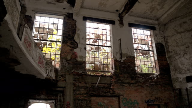 CLOSE UP: Collapsing theatre in abandoned City Methodist Church, Gary Indiana video