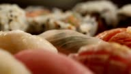 Collection of sushi. Macro diversity of sushi video
