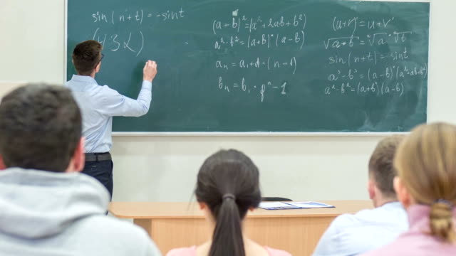 College professor is asking a question video