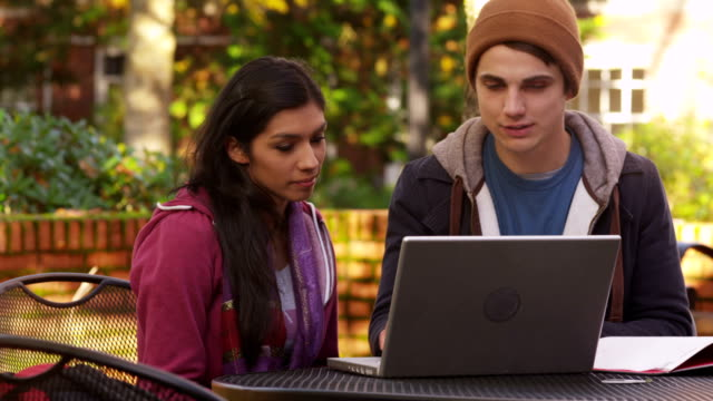 College students study on laptop computer video