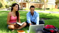 College Students Study Outside Black and Hispanic Track Left CU video