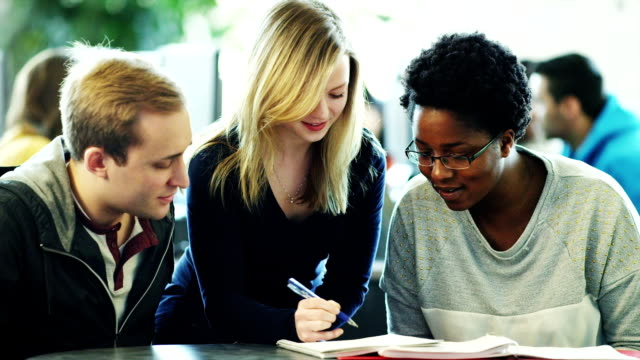 College students studying together video