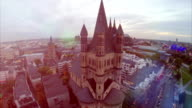 Cologne aerial, fly over Rathaus German City Council, famous travel attraction Cathedral, evening Germany symbols, Western Europe center, tourist sight seeing places, quay, Koln Dom and Opera. video