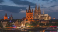 cologne cathedral at twilight time video