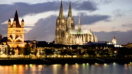 Cologne dusk panorama 30p video