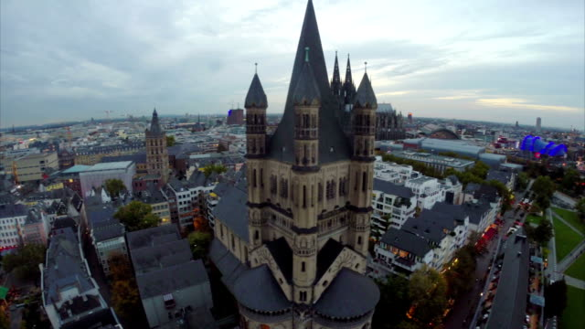 Cologne German beautiful tourist places aerial, Cathedral opera. Beautiful aerial shot above Europe, culture and landscapes, camera pan dolly in the air. Drone flying above European land. Traveling sightseeing, tourist views of Germany. video