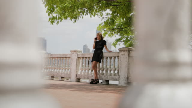 Colombian Girl In Panama City Talking On Mobile Phone video