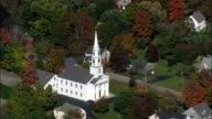 Colonial style white church - Aerial View - Massachusetts,  Worcester County,  United States video