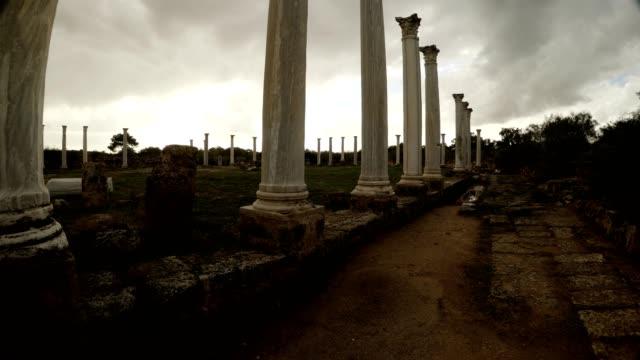 Colonnade of Roman Agora cloudly sky antique town Salamis video