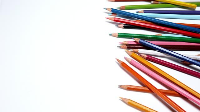 Color Pencils against White Background, Slow Motioin 4K video