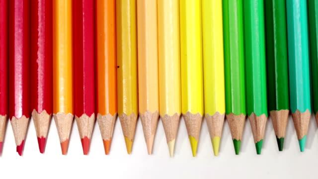 Color pencils in a row video