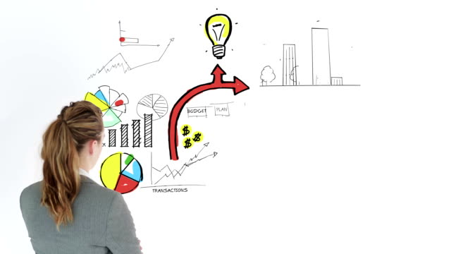 Colored animation showing business plan and a businesswoman video