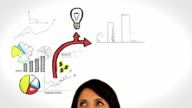 Colored animation showing business plan and a woman watching video