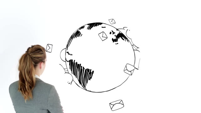 Colored animation showing envelopes circling the earth and a businesswoman video
