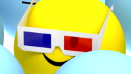 colored ball wearing 3d glasses video