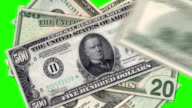 Colored dollar symbol on green background video
