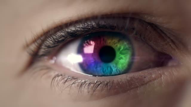 Colored eye macro shot video
