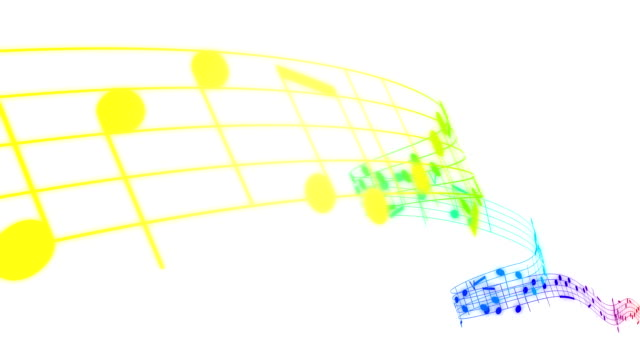 Colored Music notes in 3d. HD. Loopable. video