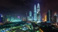 colored night light panoramic 4k time lapse from kuala lumpur malaysia video