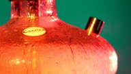 Colored orange hookah with the smoke, close up video