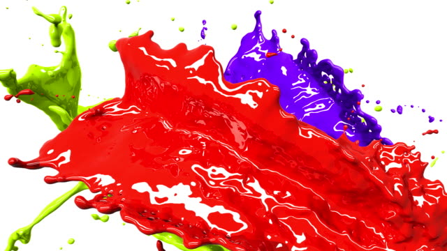 Colored paint splashes in slow and freeze motion HD. video