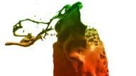 Colored paint splashes in slow motion (preview darker than original) video