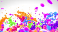 Colored paint splashes in slow motion video