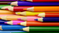 Colored pencils. Close up. video