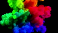 Colored smoke explosion on black 'Spectrum', variation 2 video
