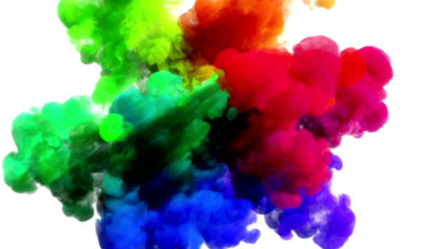 Colored smoke explosion on white 'Spectrum', variation 2 video