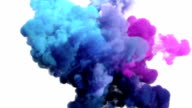 Colored smoke explosion on white video