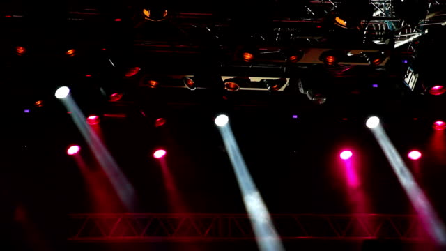 Colored spotlights on the stage. video