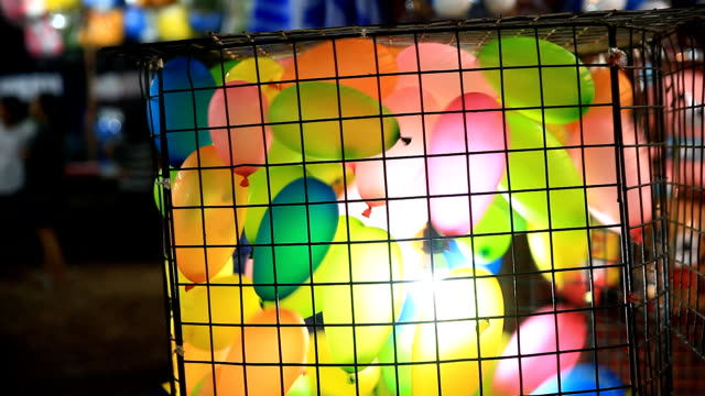 Colorful balloon blowing. video