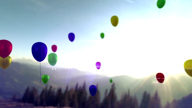 Colorful balloons flying in the beautiful sky video