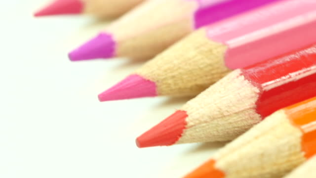 Colorful color pencil. Top view. From bottom to top. video