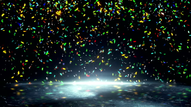 colorful confetti falling loopable video